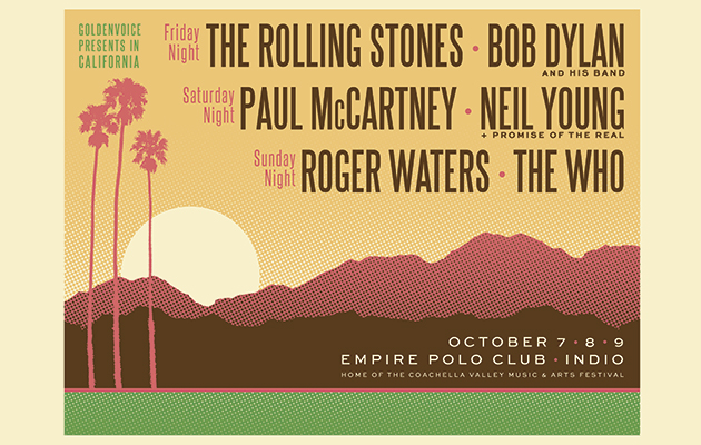 Bob Dylan, The Rolling Stones, Paul McCartney, Neil Young, Roger Waters and The Who announce details of Desert Trip festival