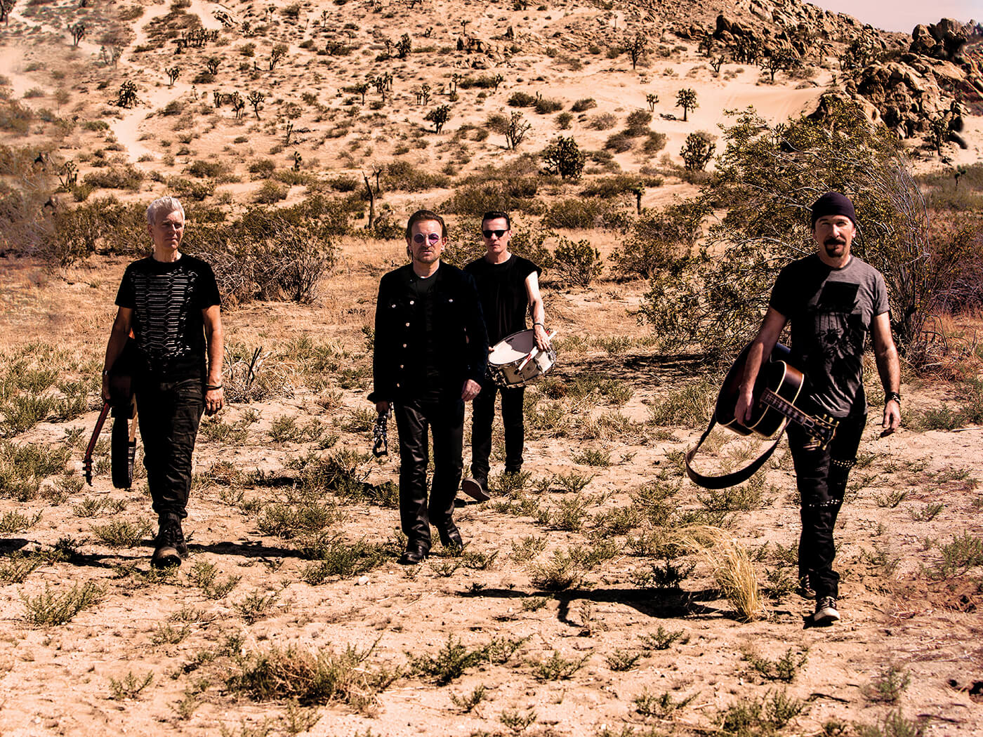 U2 posed in desert