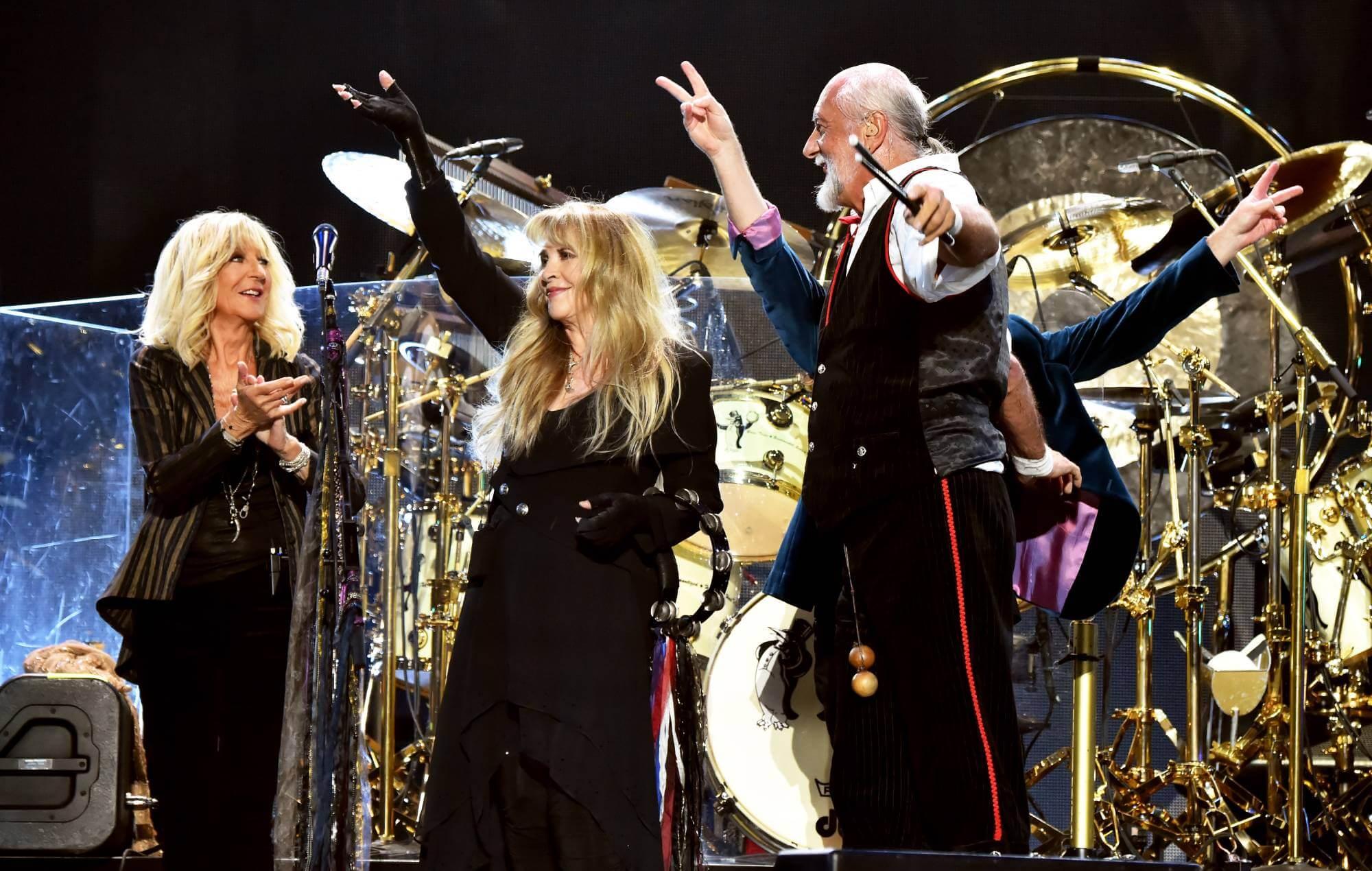 Christine McVie, Stevie Nicks, and Mick Fleetwood of Fleetwood Mac