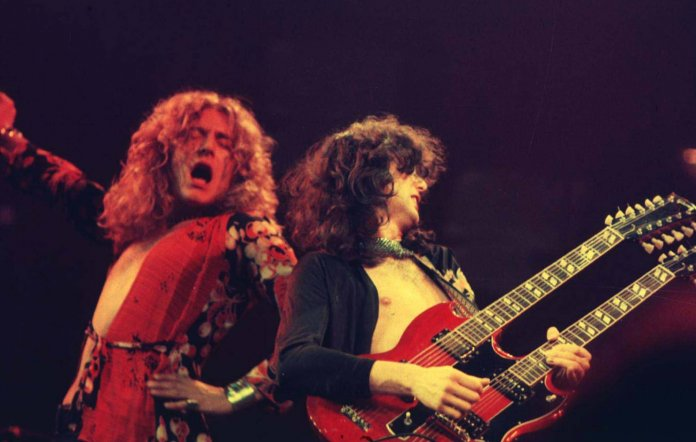 Robert Plant and Jimmy Page of Led Zeppelin in 1975 (Picture: Laurance Ratner/WireImage)