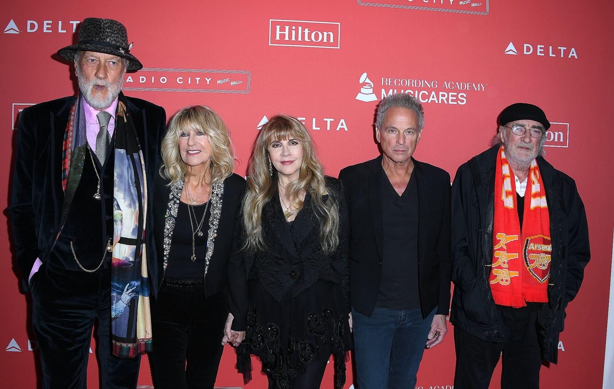 Mick Fleetwood, Christine McVie, Stevie Nicks, Lindsey Buckingham, and John McVie of Fleetwood Mac in 2018.